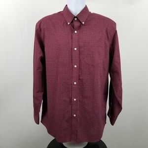 L L Bean Wrinkle Free Traditional Red Check Shirt